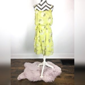 Old Navy yellow floral ruffled dress with bow XL